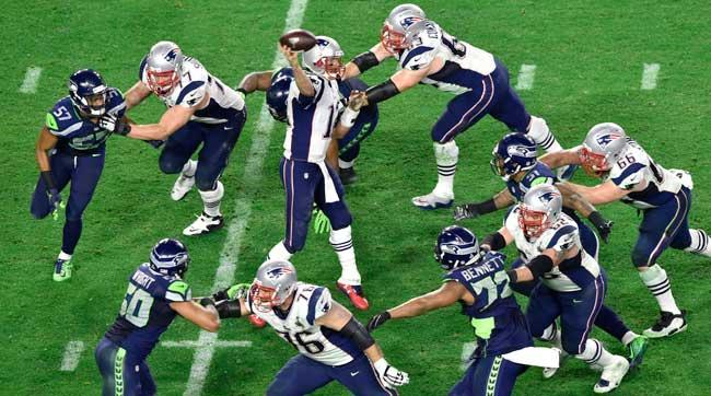 Brady throws from a perfect pocket in last season's Super Bowl.